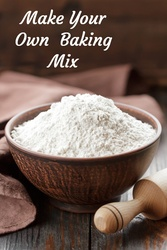 A simple recipe for a homemade baking mix to use instead of mixes like Bisquick.