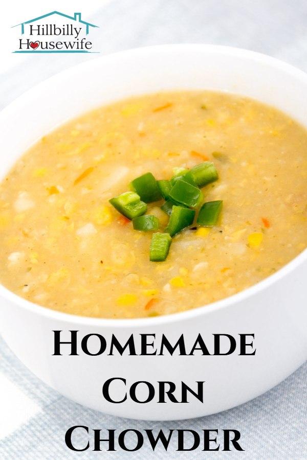 A yummy bowl of freshly made corn chowder