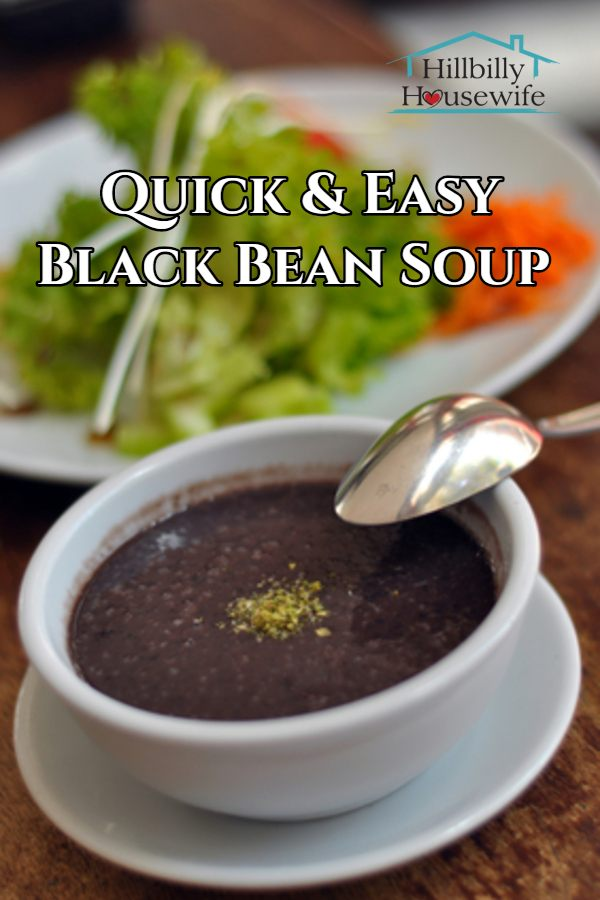 A bowl of quick and easy to make black bean soup