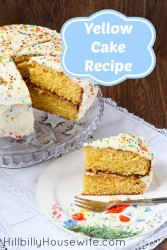 Frosted yellow cake on a plate