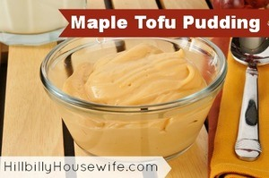 A small bowl of tofu pudding flavored with maple syrup