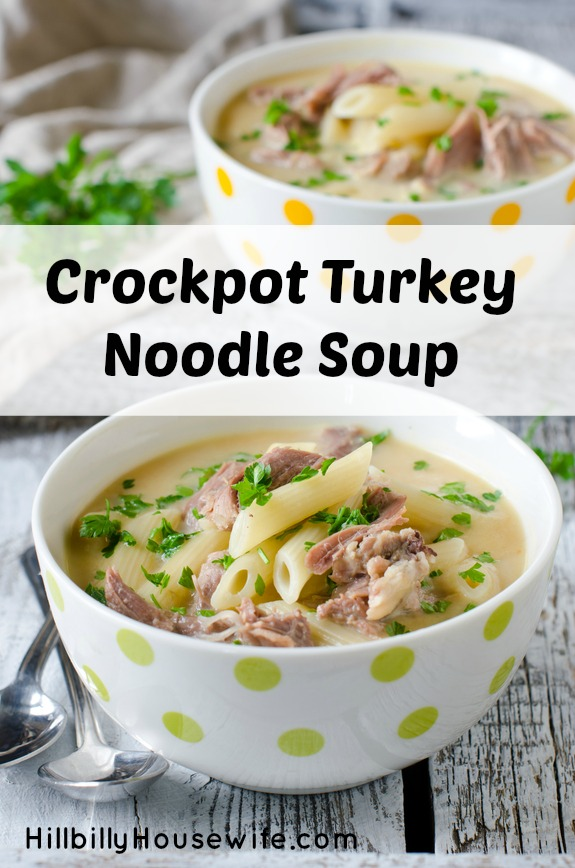 Yummy turkey and noodle soup made in the slowcooker.