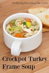 Put that turkey frame to good use by first making homemade broth and then turning it into a delicious pot of soup... all in your slow cooker.