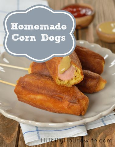 A plate of corn dogs made from scratch.