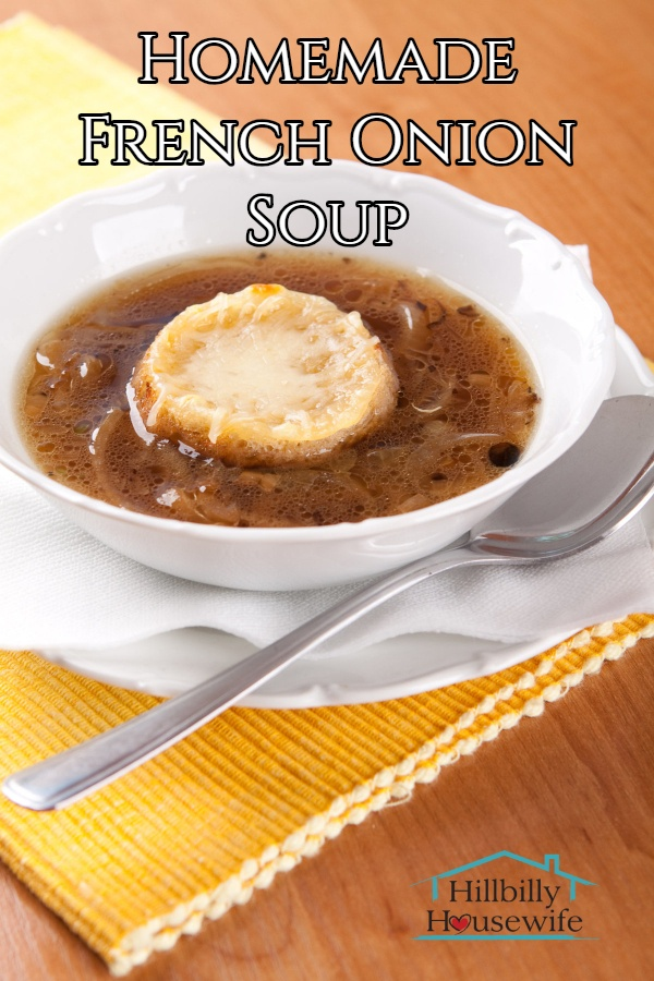 A bowl of homemade french onion soup with cheese crouton