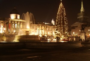 Trafalga Square London Christmas Lights