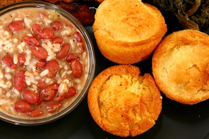 Red Beans and Rice with Cornbread.