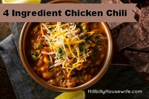 4 Ingredient Chicken Chili made in the Slowcooker