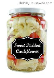 We love this sweet and tangy pickled cauliflower. Perfect for sandwiches, snacking or to perk up a boring salad.