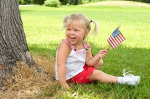 Little girl having funon the 4th of July