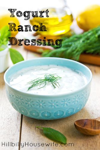 Delicious recipe for homemade ranch dressing made with yogurt.