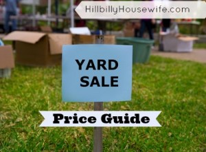 Yard Sale Price Guide