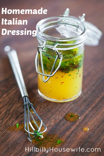 Blend up this simple italian dressing and store in a glass jar.