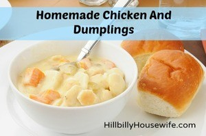 A bowl of homemade chicken and dumplings