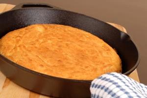 Cornbread made in a cast iron skillet