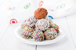 Colorful chocolate truffles