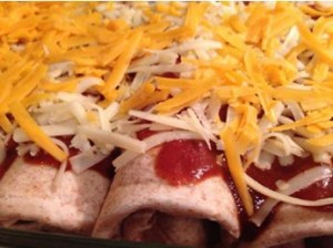 Chicken Enchiladas ready for the freezer