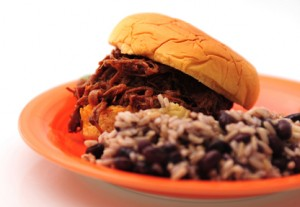 Black Beans and Rice and Shredded Beef Sandwich