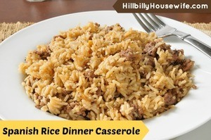 A quick and easy spanish rice casserole dish with hamburger