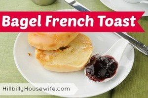 French toast made with bagel and a side of jam.