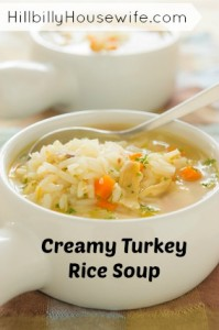 Healthy turkey rice soup.