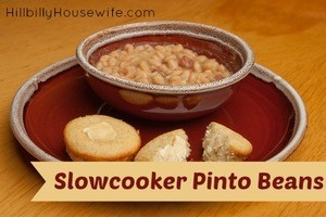 Pinto Beans cooked in a slowcooker and served with a side of cornbread.