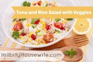 Tuna and Rice Salad with lots of colorful Veggies