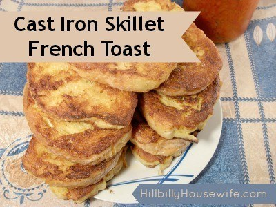 French Toast Cooked in a Cast Iron Skillet
