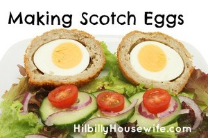Two half scotch eggs and salad