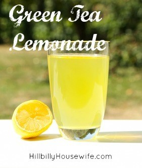 A glass of green tea lemonade