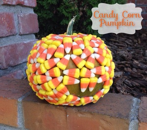 Candy Corn Covered Pumpkin
