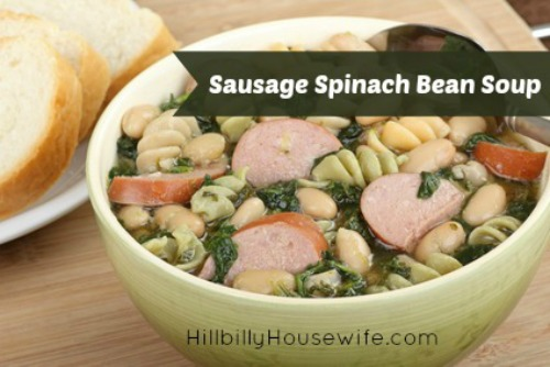 Bowl of kielbasa bean and spinach soup