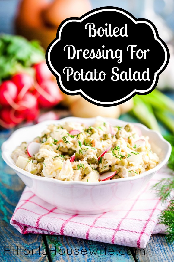 A boiled dressing with eggs, flour, sugar and vinegar to dress potato salad.