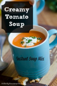 A homemade mix recipe for instant cream of tomato soup. Much better than the stuff from the can.