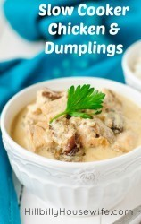 Easy slow cooker chicken and dumplings stew made with chicken breast, cream of chicken soup and refrigerator biscuits.