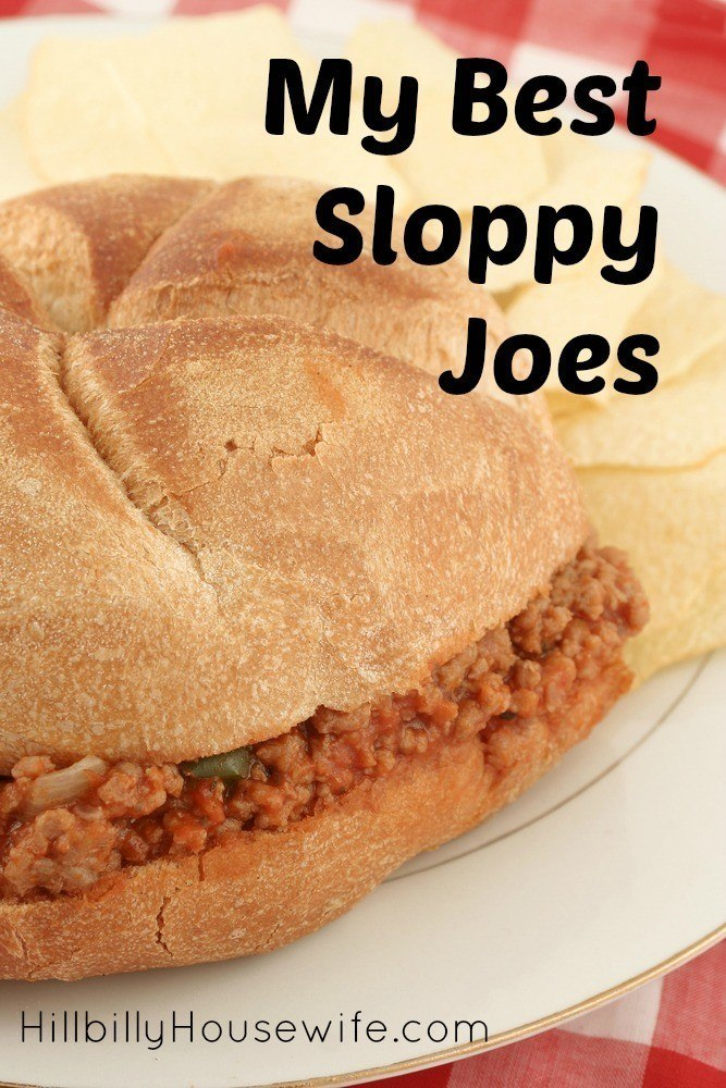 A plate with a Sloppy Joe Sandwich on a bun and chips.