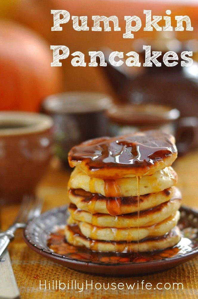 Stack of delicious pumpkin pancakes. Perfect for Fall Breakfast.