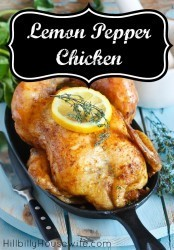 A simple roasted chicken dish seasoned with lemon and pepper.