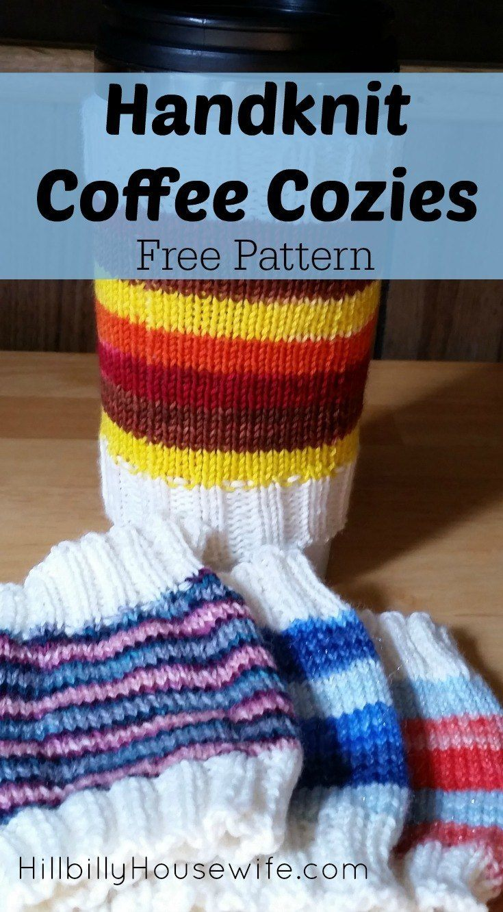 Easy Coffee Cozies Knitting Pattern - Hillbilly Housewife