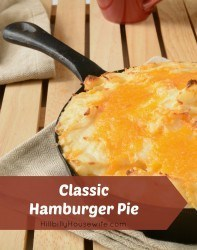 Cast iron hamburger pie made with ground beef and mashed potatoes