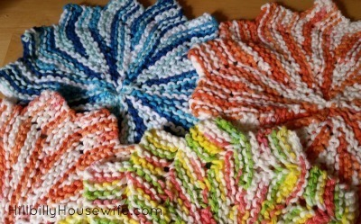 Pretty colorful dish cloths.