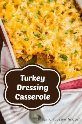 Turn your Thanksgiving leftovers into a delicious turkey and dressing casserole. My favorite dish the day after