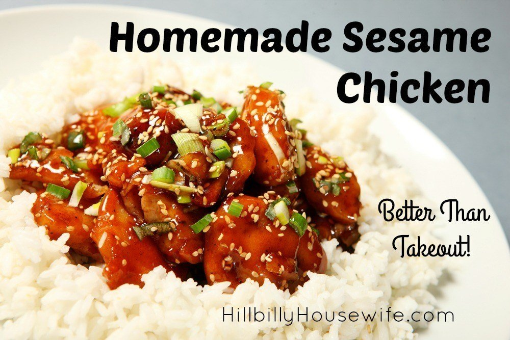 You'll love this easy sesame chicken recipe made with chicken, cornstarch, honey, soy sauce and a few other herbs and spices... and of course sesame. Always a big hit in this house.