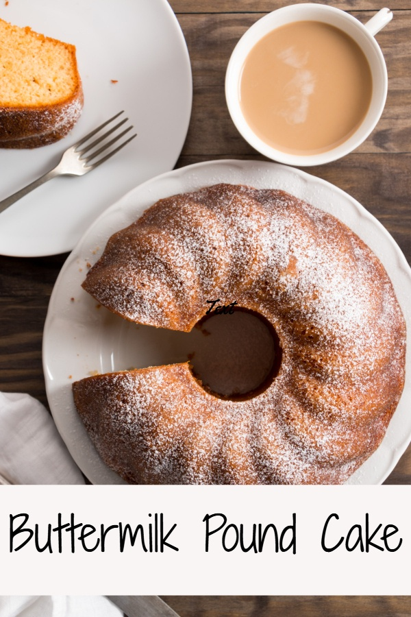A tasty homemade buttermilk pound cake topped with powdered sugar..