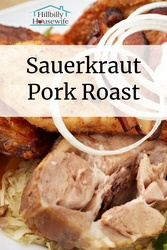 I love making this sauerkraut pork roast in my slowcooker. Great for Sunday dinners with fresh rolls and real mashed potatoes.