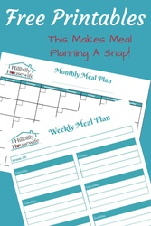 Get your weekly and planning meal planning printables. Two simple sheets that help you plan your meals.