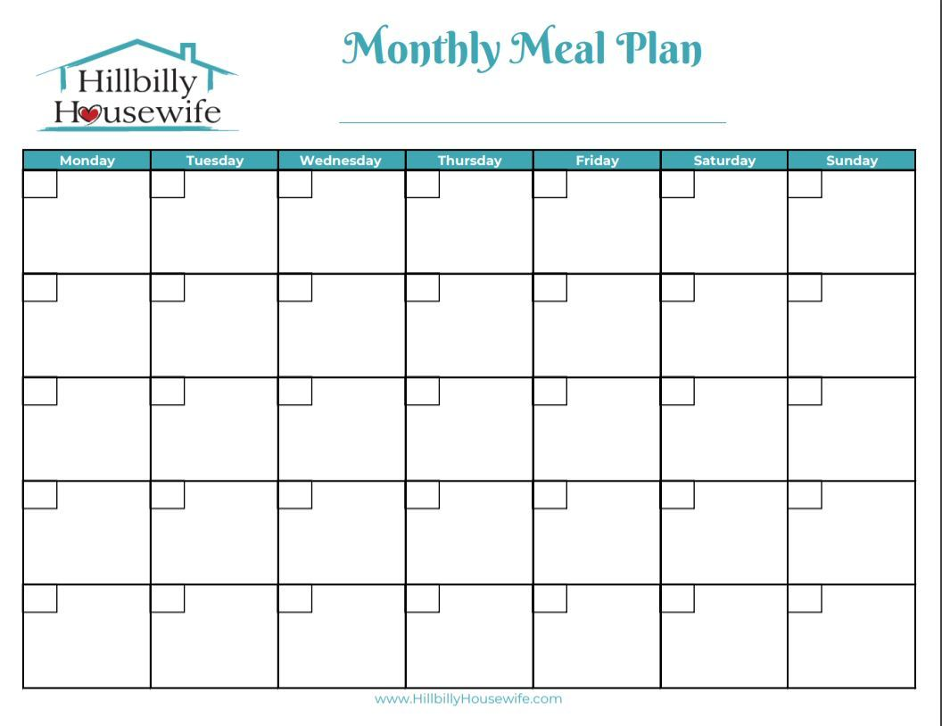 A simple sheet to help you plan your meals for the month