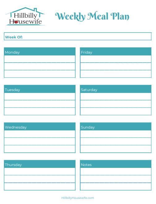 A simple sheet to help you plan your meals for the week.