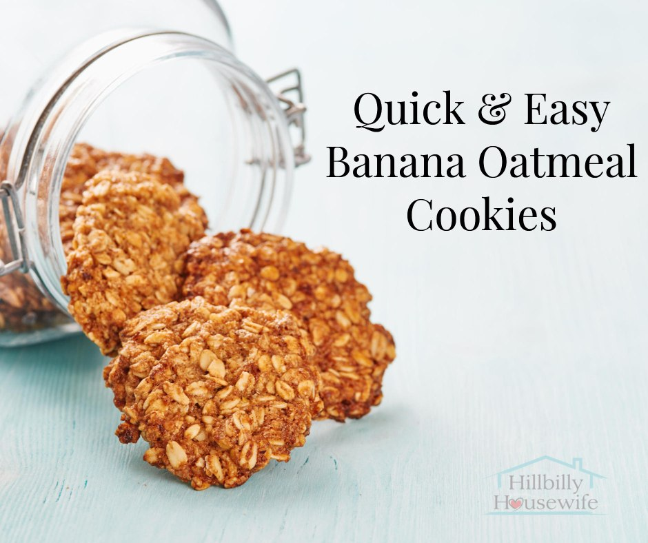 "Glass jar with cookies spilling out of them. Text reads ""Quick & Easy Banana Cookies"""
