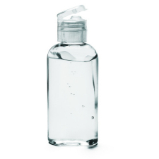 Small bottle of clear alcohol-based hand sanitizer